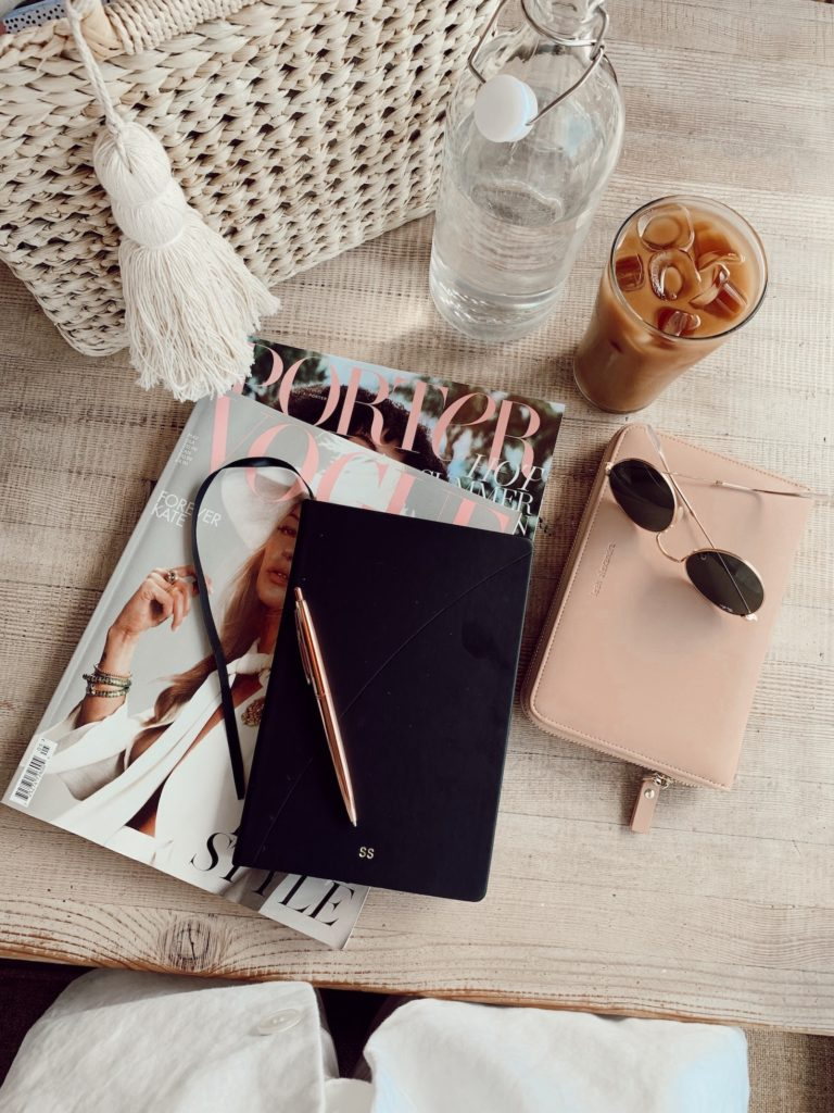 Lifestyle blogger, Sydney Socias's flatlay from blogging at coffee shop with iced coffee.