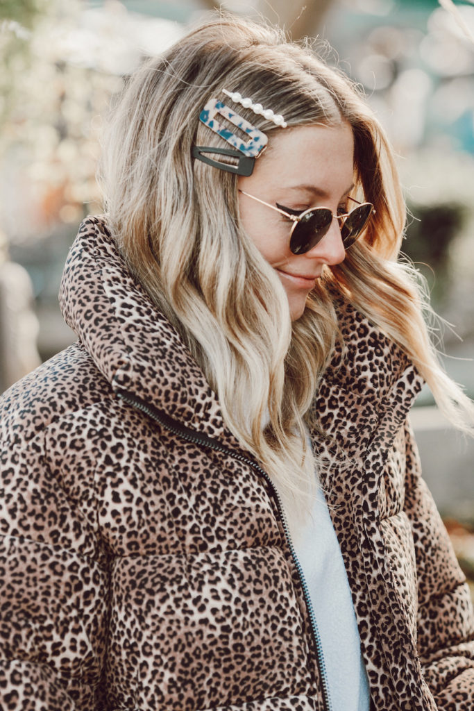 Leopard vegan puffer jacket and matching hair pins