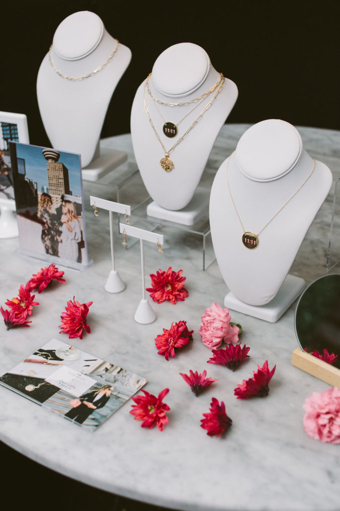 dainty layered jewelry display